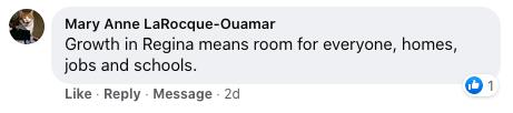 keep regina growing 2020 - FB comment1